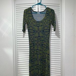 LuLaRoe maxi dress in blue and gold